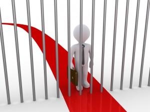 cartoon man and Prison bars